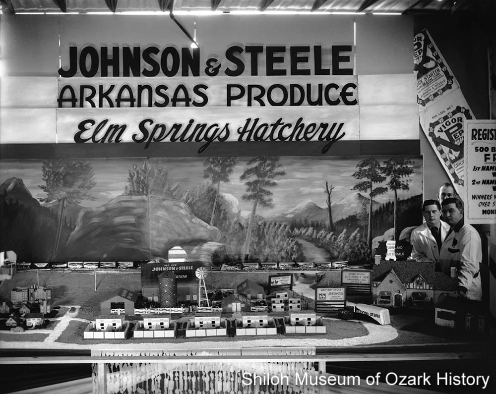Johnson and Steele hatchery exhibit at the 2nd annual Northwest Arkansas Live Broiler Show, Springdale, Arkansas, January 1940.