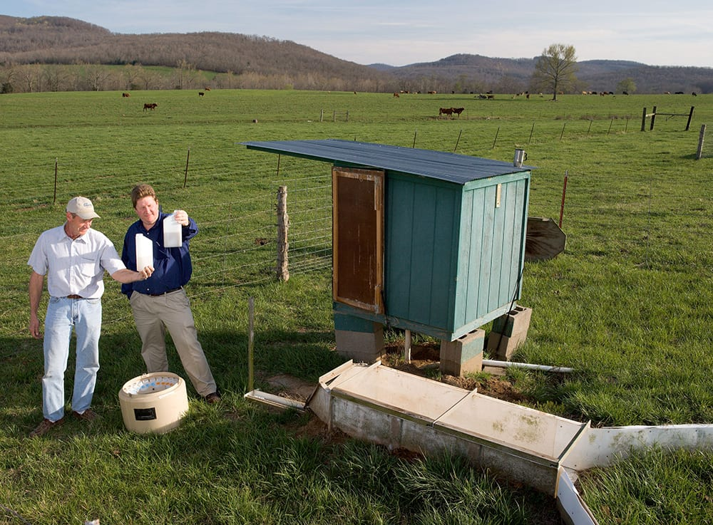 Scott Becton (left) and Dr. Philip A. Moore Jr. collect water-runoff samples from a Madison County, Arkansas, farm, 2006.