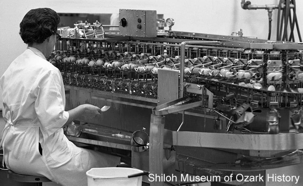 Monitoring the egg-breaking machine at Seymour Foods, Springdale, Arkansas, March 10, 1970.