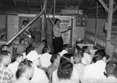 Jerry Hinshaw teaching at a school for poultry growers at Arbor Acres, Springdale, Arkansas, July 1961.