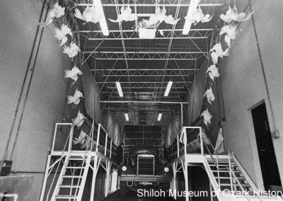 Live birds hung for processing at Swift Company, Huntsville, Arkansas, 1974.
