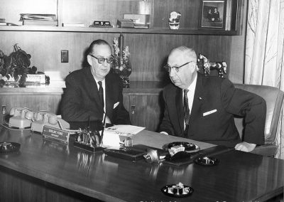Joe Steele and Shelby Ford at First State Bank, Springdale, Arkansas, 1960s–1970s.