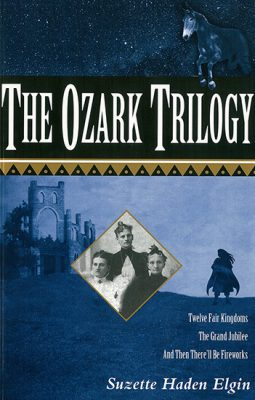 Book cover with image of castle and silhouette of a rider on a horse in the background and the faces of three women from a 19th century photo in the center. Book title at top of image says The Ozark Trilogy